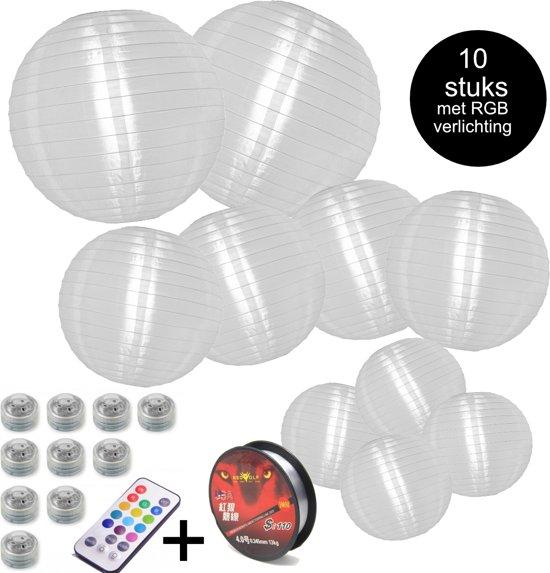 Nylon Lampion voordeelpakket - Incl RGB verlichting met afstandsbediening - Lampionnen voor binnen en buiten