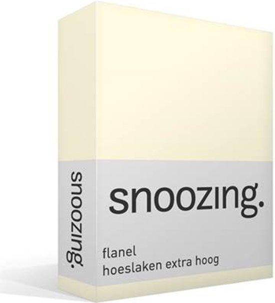Snoozing - Flanel - Extra Hoog - Hoeslaken - Eenpersoons - 80/90x200 cm - Ivoor
