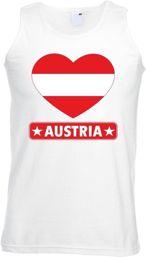 Oostenrijk singlet shirt/ tanktop met Oostenrijkse vlag in hart wit heren L