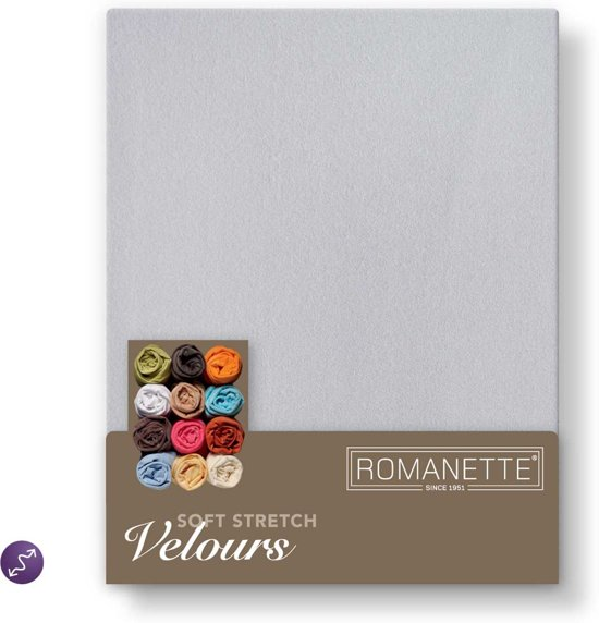 Romanette - Velours - Hoeslaken - Tweepersoons - 140/150x200/220 cm - Silver