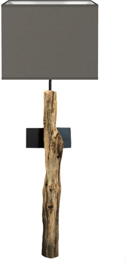 Onwijs bol.com | Houten boomstronk wandlamp (kap grijs) AS-64