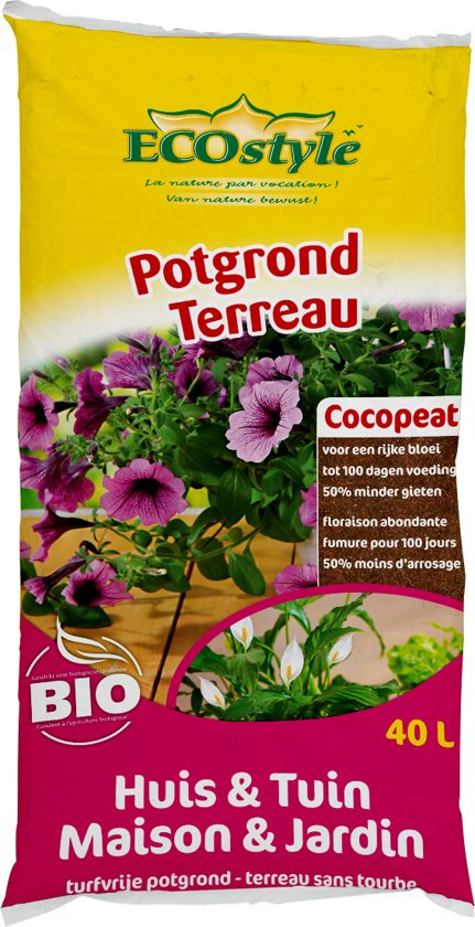 ECOstyle Potgrond Huis & Tuin - Cocopeat - 40 liter