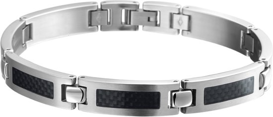 The Jewelry Collection For Men Armband Carbon Poli/mat 9 mm 21 cm - Staal