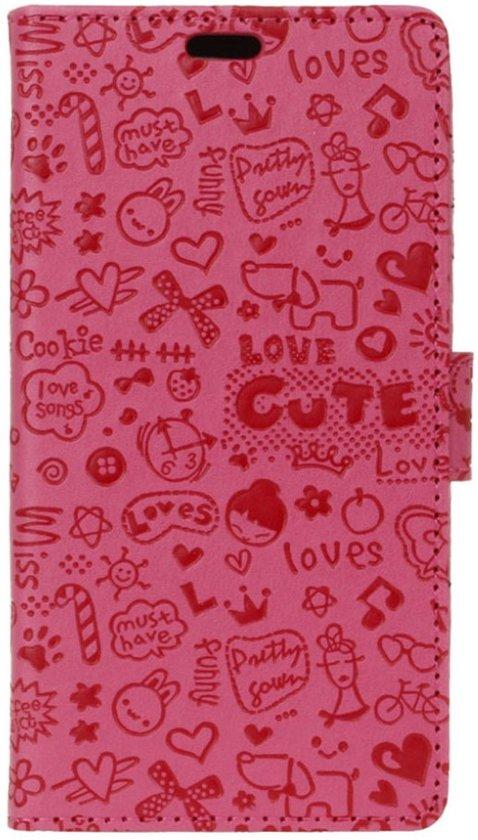 Huawei Y3II Bookcase Hoesje Figuurtjes - Roze in Wieringerwaard