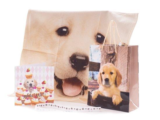 Labrador hond cadeauset kadoset Mars & More theedoek cadeautas wenskaart cadeaulint thema dierencadeaus honden kado keukentextiel
