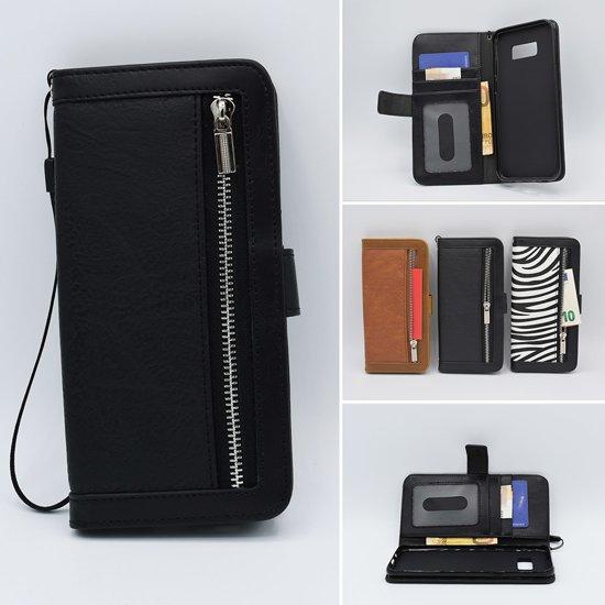 0e92b5a6e31 Bookcase Samsung Galaxy S9 Plus Zwart+Portemonnee met liefst 10 pasjes