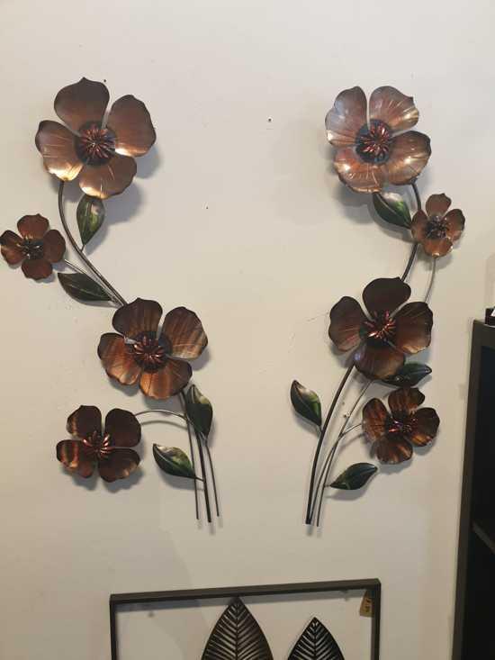 Metalen wanddecoratie- muurdecoratie takken met bloemen klaprozen