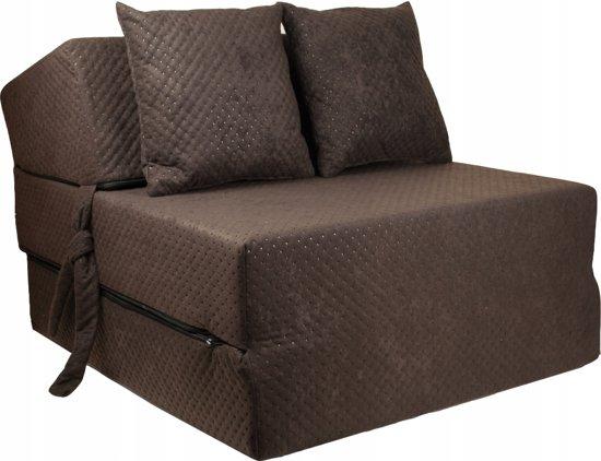 Luxe logeermatras - bruin - camping matras - reismatras - opvouwbaar matras - 200 x 70 x 15 - met kussens