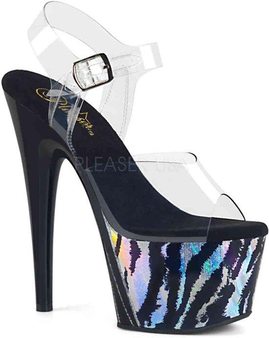 ADORE-708HP-2 (EU 39 = US 9) 7 Heel, 2 3/4 PF Ankle Strap Sandal w/ Holo Print