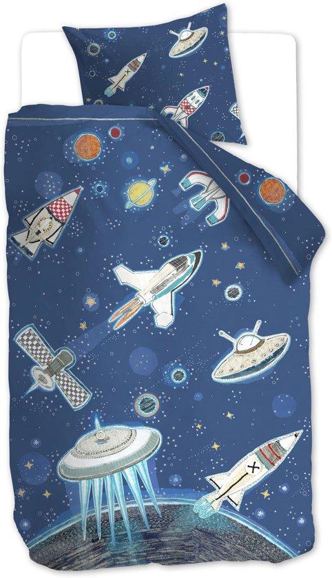 Beddinghouse Kids Space  - kinderdekbedovertrek - Eenpersoons - 140x200/220 cm - Blauw