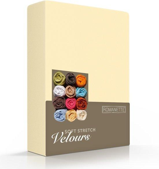 Fluweel Zachte Velours Hoeslaken Geel | 90x210 | Super Comfortabel | Uitstekende Pasvorm