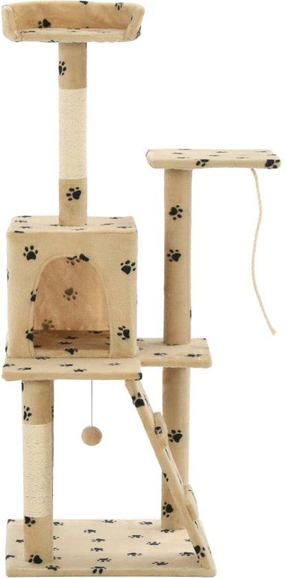 vidaXL Kattenkrabpaal met sisal krabpalen 120 cm pootafdrukken beige