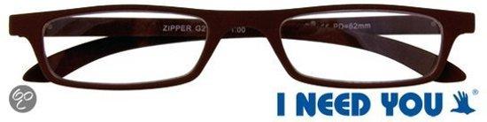 I Need You - The Frame Company Contactlenzen Leesbril ZIPPER bruin +2.00 dpt