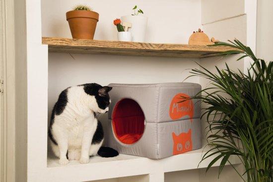 Beeztees Gillo - Kattenhuis - Grijs/Oranje - 37x33x33 cm