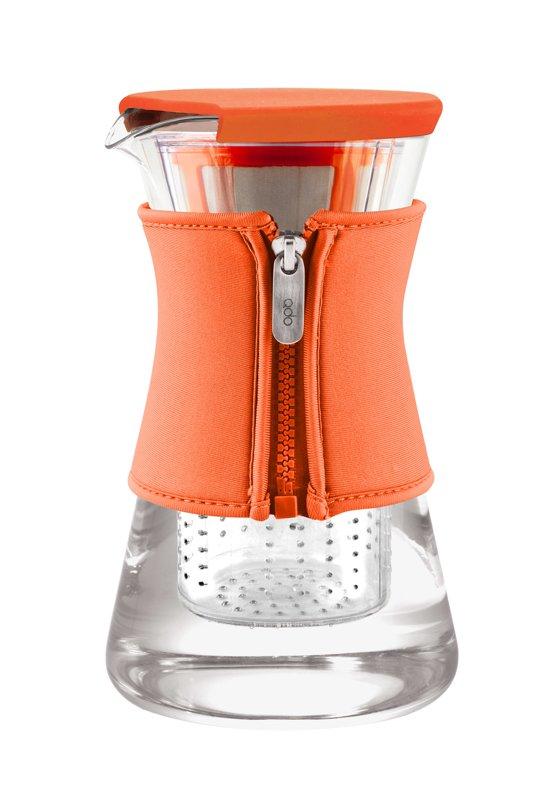 Qdo Karaf Glas - Met Neopreen Sleeve - Voor Warme en Koude Dranken - 1,2 liter - Oranje