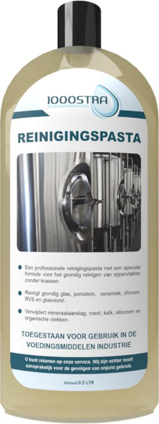Reinigingspasta (500ml) voor o.a. glas (salpeteraanslag), rvs en kunststof. Voor particulieren en bedrijven.