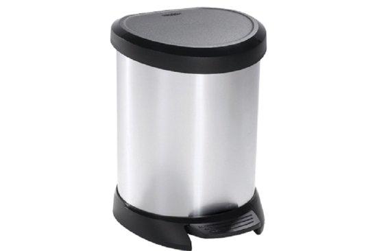 Curver Decobin Pedaalemmer 40 L Zwart.Curver Decobin Pedaalemmer 5 L Zilver Zwart Met Binnenemmer