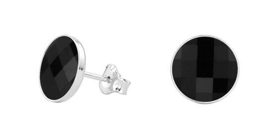 ARLIZI Oorbellen zwart Swarovski kristal oorknoppen - zilver - 0983