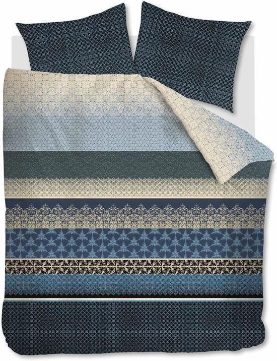 Beddinghouse Linear Leaf - Dekbedovertrek - Tweepersoons - 200x200/220 cm + 2 kussenslopen 60x70 cm - Blue grey