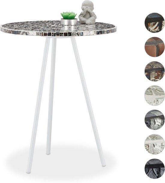 Zilver Bijzet Tafeltje.Relaxdays Bijzettafel Mozaiek Rond Handgemaakt Bijzettafeltje Salontafel 50 X 41 Wit Zilver