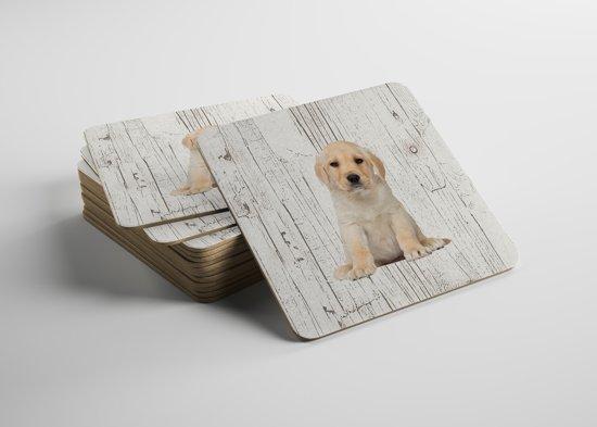 Hond Labrador Pup   Houten Onderzetters 6 Stuks