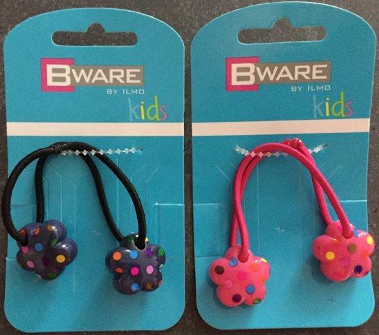 Bware! Elastiek Bloem Verdikt Blauw & Roze (4 stuks)