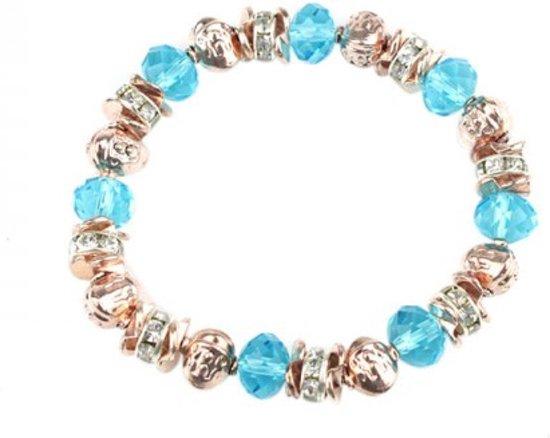 Armband - Elastisch - Rosé-Goudkleurige & blauwe kraaltjes - Musthaves