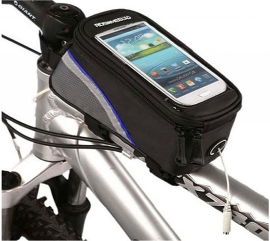 Waterdichte Telefoonhouder met extra opbergvak (maat L) voor fiets of mountainbike, Roswheel Telefoon - Fietstas - Frame. Passende maten: Lengte tussen de +/- 140 tot 156mm, breedte +/- 70 tot 87mm, zwart , merk by i12Cover, zwart , merk by i12Cover
