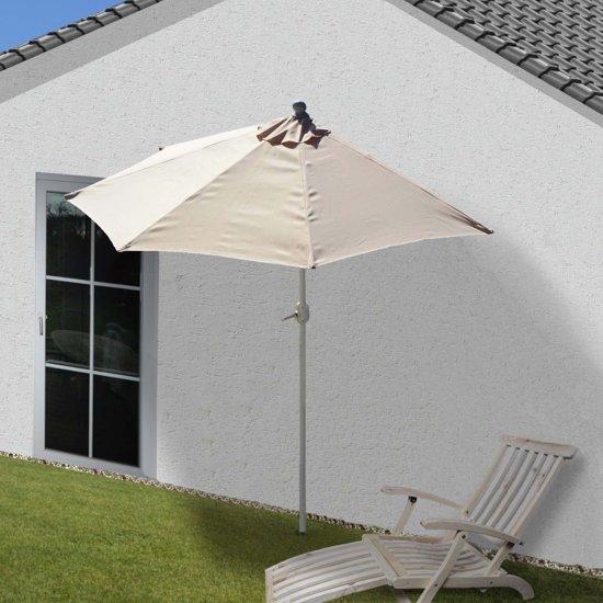 halve parasol muurparason balkon parasol creme met voet 270 cm. Black Bedroom Furniture Sets. Home Design Ideas