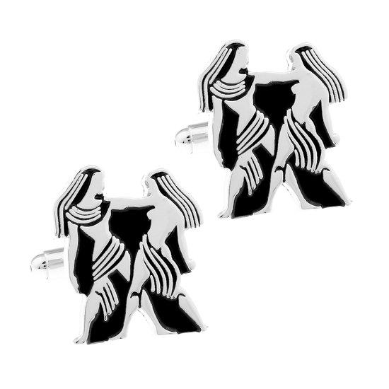 Amanto Manchetknopen Tweeling - Heren - 316L Staal  - Horoscoop  - 22 x 19 mm