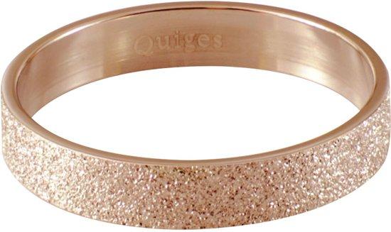 Quiges Stapelring Ring - Vulring Glitter - Dames - RVS roségoudkleurige - Maat 21 - Hoogte 4mm