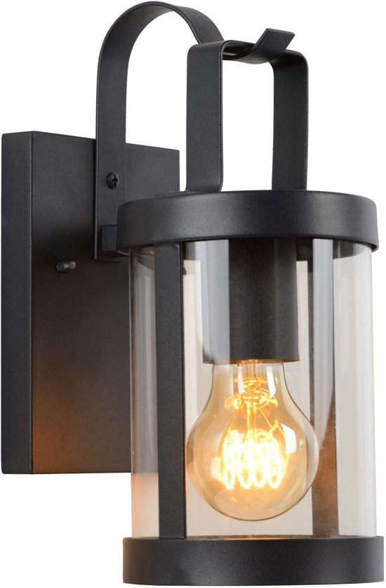 Lucide LINDELO - Wandlamp Buiten - E27 - IP23 - Zwart