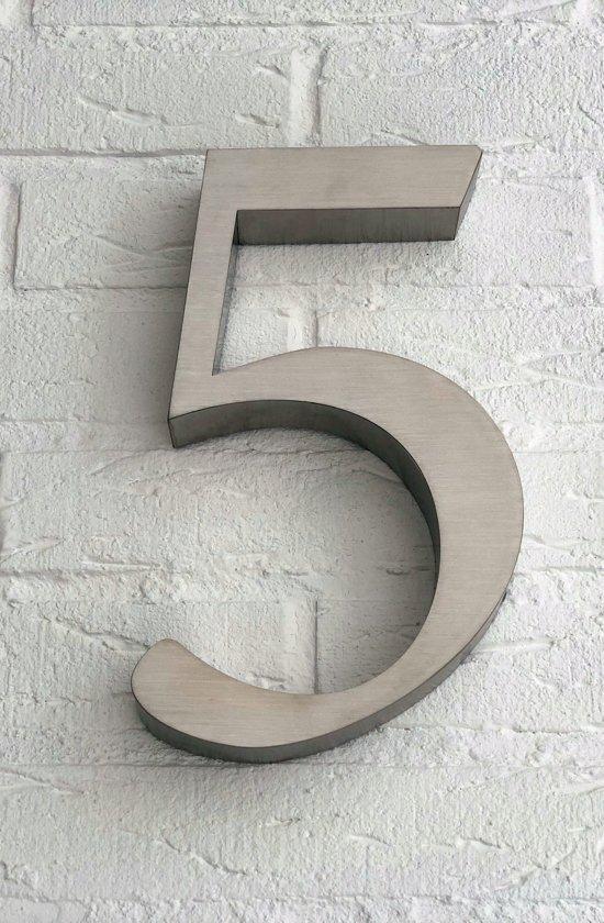 Huisnummer 5 van RVS 3D XL / Hoogte 25 cm / Huisnummer 5 groot.