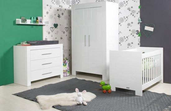 bol | bopita - 3-delige babykamer - manhatten - wit hoogglans, Deco ideeën
