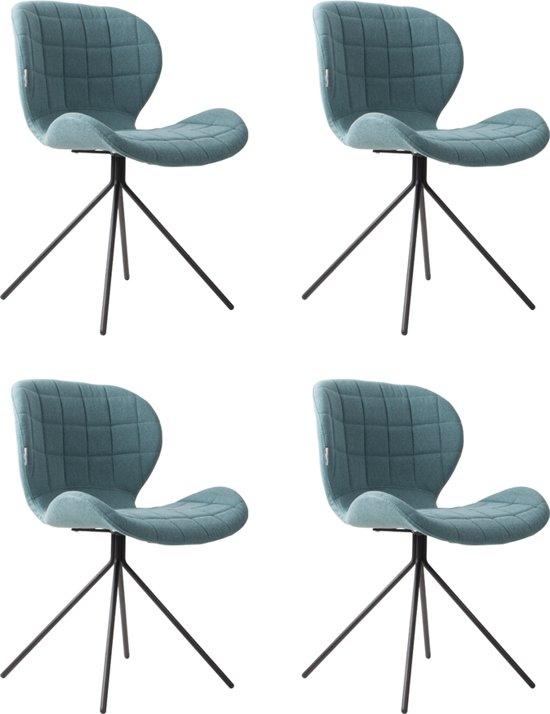 Blauwe Design Stoelen.Zuiver Omg Stoelen Blauw Stof Set Van 4 Aanbieding Nu Met Gratis Vloerdoppen