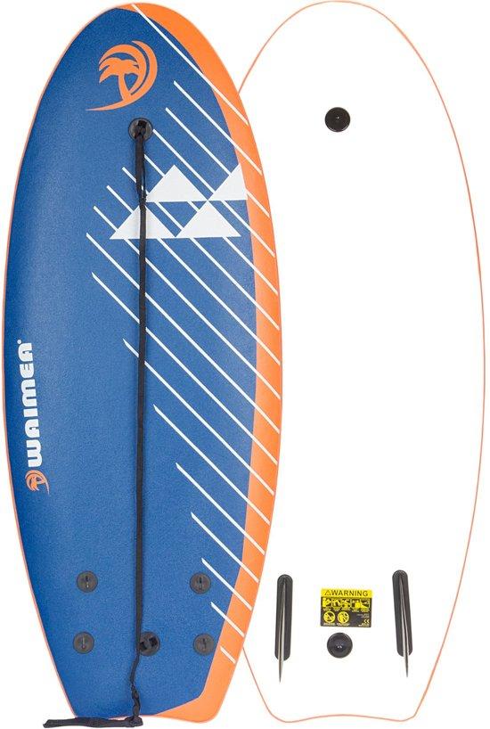Waimea Surfboard EPS 114 cm - Slick Board - Blauw/Oranje/Wit