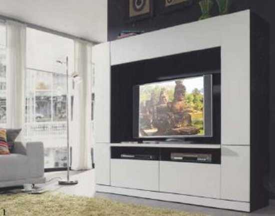 tv wand in wit hoogglans. Black Bedroom Furniture Sets. Home Design Ideas