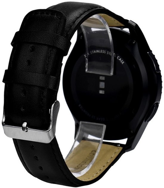 PU Lederen Band Voor Samsung Gear S3 Classic / Frontier - Horloge Watch Band Strap - Armband Leer - Zwart Small / Large