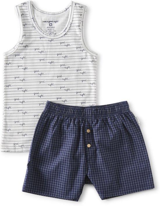 zomer pyjama hemd jongens - blue check