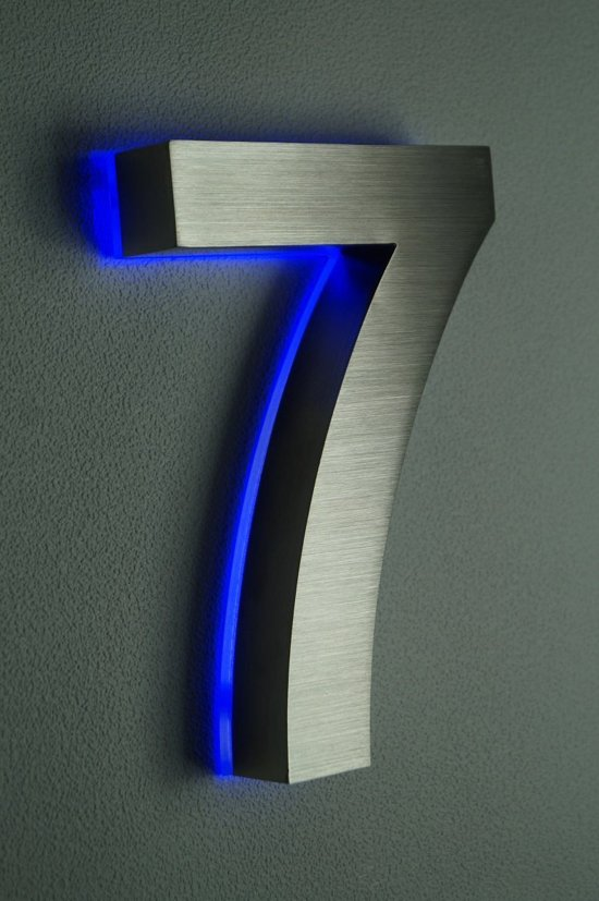 bol.com | Huisnummer met LED verlichting van RVS | Hoogte 20cm Nummer 7
