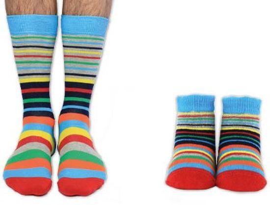 Cadeaudoosje met vader en kind sokken - Daddy and Me - maat 39/46 en 0 tot 12 mnd - kraam cadeau idee