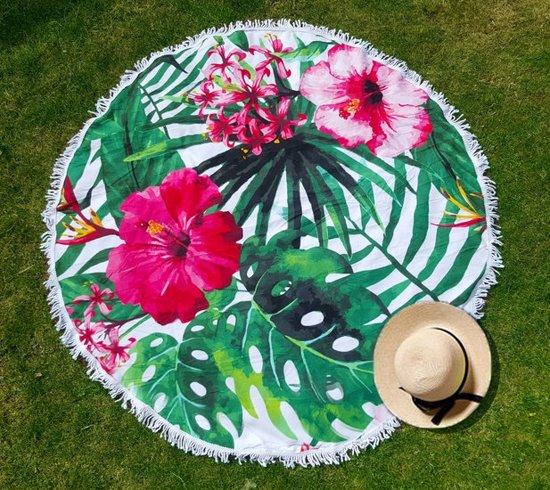 Roundie Hibiscus bloem | Badstof | Rond strandlaken|Roze bloemen|Tropisch groen