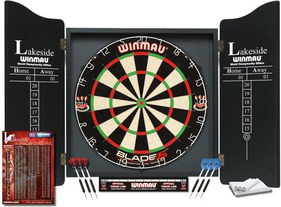 Professioneel dartboard in luxueuze kast | Winmau Lakeside Wereldkampioenschap Blade 5 Dartboard Set by Winmau