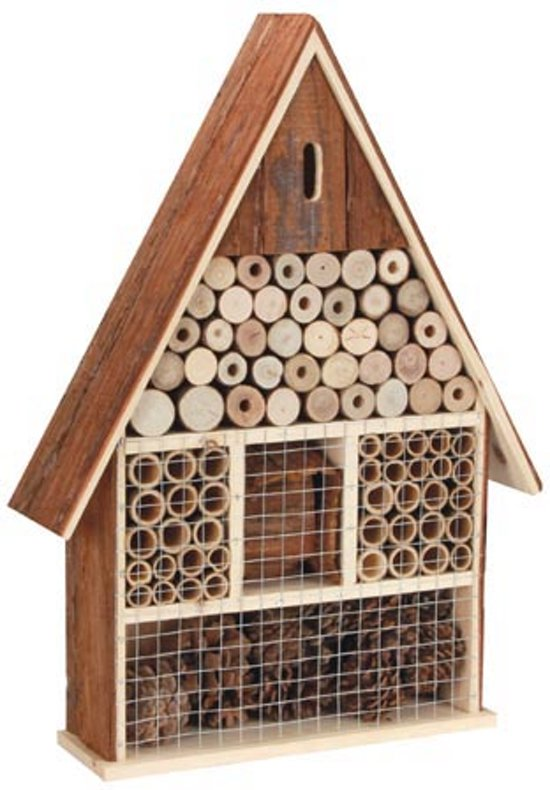 Maxx Insectenhotel bijenhuis - vlinderhuis XL - Dak uit schors - 35x10x49 cm Valentinaa
