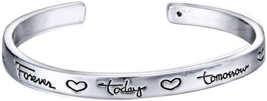 "BY-ST6 Bangle armband met tekst ""Friends Forever Today Tomorrow Always"" kleur zilver"