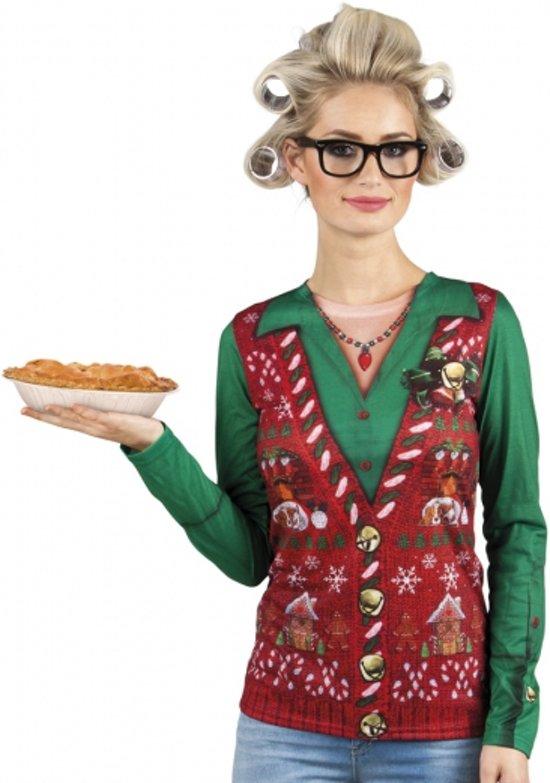 Shirt kerst gilet opdruk dames M