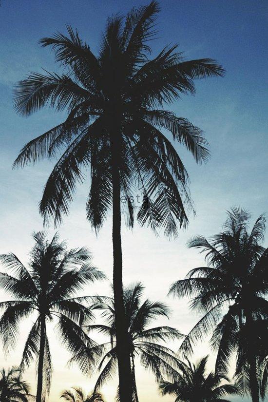 ESTAhome fotobehang palmbomen blauw, zwart en beige