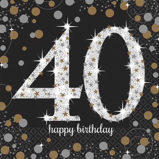 Servetten 40 Jaar Happy Birthday 33x33cm 16 stuks