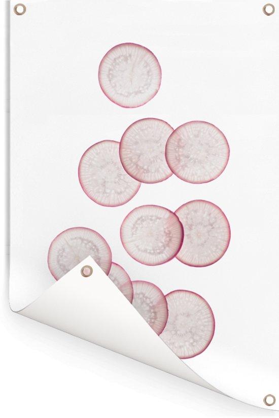 Radijs plakjes op een witte achtergrond Tuinposter 120x180 cm - Tuindoek / Buitencanvas / Schilderijen voor buiten (tuin decoratie) XXL / Groot formaat!