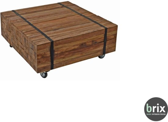 Brix Coffee table Reng 80x80 cm - Salontafel teak - by Teakplaats